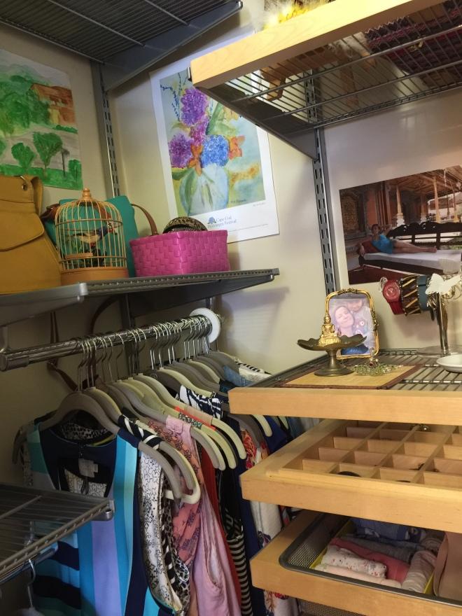Organized closet using KonMari method