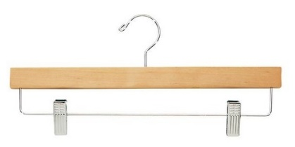 Wodden Skirt Hanger with metal clamps